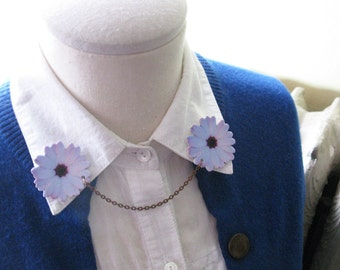 Floral White Flower Daisy Collar Pin Double Brooch Daisies
