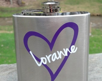 SALE. Bridesmaid flask, 6 ounce, stainless steel personalized flask.  Bridesmaid and Maid of honor gift. Plum and white