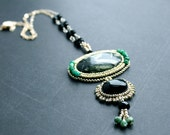 Onyx Statement Necklace - Sterling Silver Bead Embroidered Gemstone Necklace - OOAK