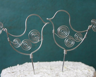 Whimsical Love Birds Wire Wedding Cake Topper