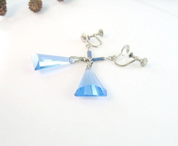 Vintage Czech Art Deco Earrings Sterling Angled Blue Glass Dangle Screw Backs 1920s Jewelry