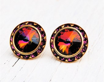 Dark Rainbow Purple Swarovski Crystal Rhinestone Stud Earrings Purple Bridesmaid Earrings Sugar Sparklers Mashugana