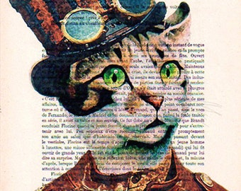 Steampunk Cat Art Print Art Giclee Print Acrylic Painting Illustration Sheep Picture Party Hat Party Blower wall art wall decor Wall Hanging