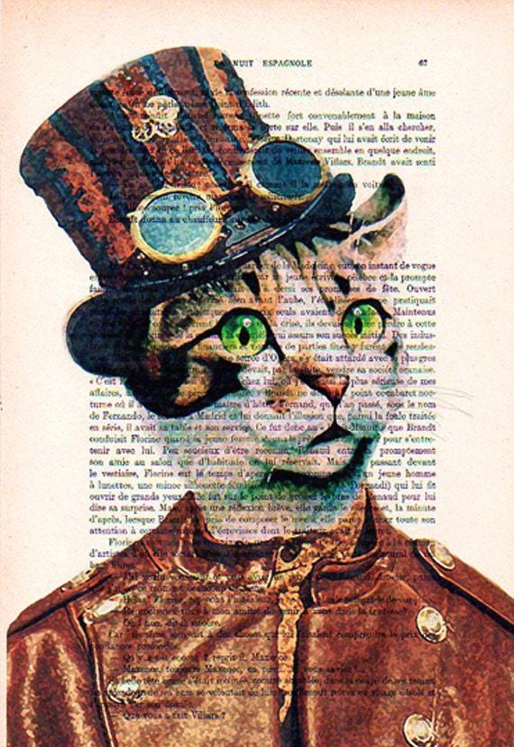 Items Similar To Steampunk Cat Art Print Art Giclee Print