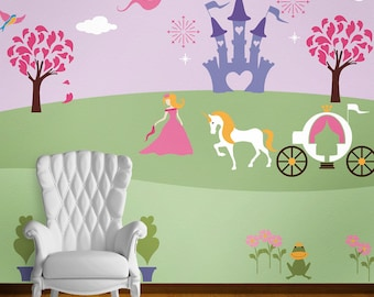 Princess Wall Mural Stencil Kit for Baby Girls Room (stl1007)
