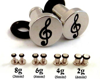 Treble Clef Single Flared Surgical Steel Plugs - 8g (3mm) 6g (4mm) 4g (5mm) 2g (6mm) Music Notes Treble Cleff Symbol Metal Ear Gauges