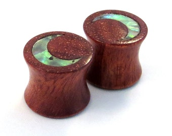 "Abalone Moon Inlay on Bloodwood Plugs PAIR 2g (6.5mm) 0g (8mm) 00g (9mm) (10mm) 7/16"" (11mm) 1/2"" (13mm) 9/16"" (14mm) 5/8 (16mm) Ear Gauges"