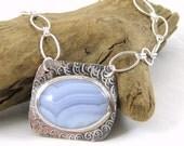 Blue Lace Agate Necklace, Sterling Silver Necklace, Gemstone Jewelry, Agate Jewelry, Bezel Set Gemstone