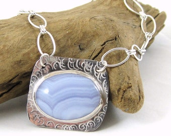 Blue Lace Agate Necklace, Sterling Silver Necklace, Gemstone Jewelry, Agate Jewelry, Bezel Set Gemstone
