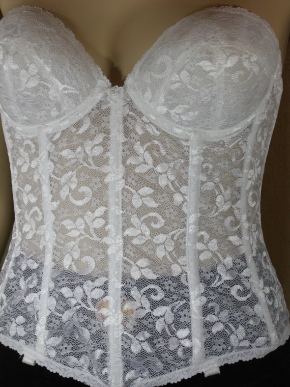 Vintage bustier white lace strapless corset bra wedding for Wedding dress corset bra