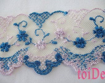 2 Yard - Vintage scalloped lace embroidered Ribbon Trim Blue and Purple Wide