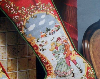 Rare Gayle R. Nelson The SKATERS Heirloom Christmas STOCKING - Counted Cross Stitch Pattern Chart - fam