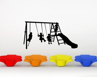 Swingset, Jungle Gym, Recess, Slide, Swing, Playground, School Decor, Wall Decal, Recess, Day Care, Playroom, Daycare Art, Home