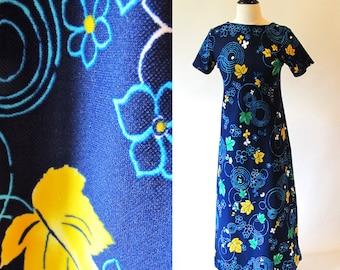 Vintage 70s Maxi, Long Blue Dress, Poly Dress, Floral Print Dress