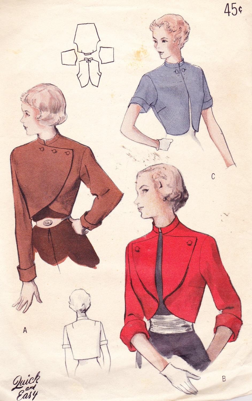 1950s Vintage Womens Sewing Pattern Bolero Jacket Butterick