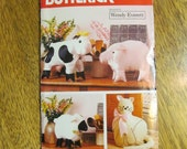 COUNTRY Animals - Stuffed Soft Sculpture Cow, Pig, Sheep & Cat - UNCUT Vintage Sewing Pattern Butterick 475