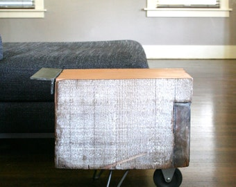 wheel koan coffee table - modern industrial - reclaimed old growth wood, recycled content steel and hairpin legs