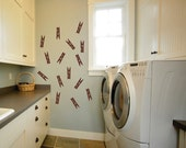 Clothes Pin Laundry Wall Decal set of 15, Laundry Room Vinyl Wall Art - Laundry Vinyl Decal