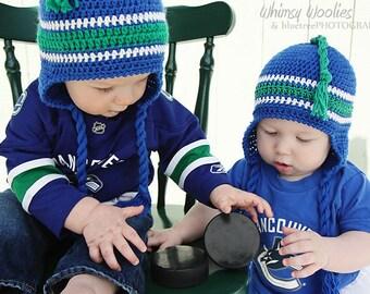 Baby Crochet Hat Pattern: 'Lil' Nuck' - Crochet Ear flap Hat, Crochet Leg Warmers, Canucks