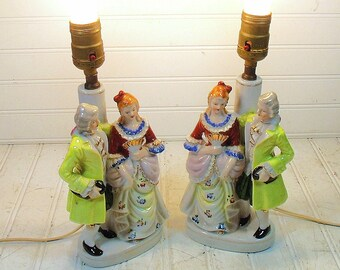 Vintage Victorian Style Ornate Boudoir Lamps - Retro Mid Century Andrea Sadek Ceramic Lighting - Cottage Chic Hand Painted Mirror Figurines