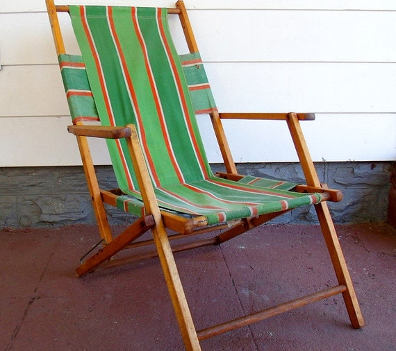 Vintage Wood And Canvas Folding Beach Chair Retro By