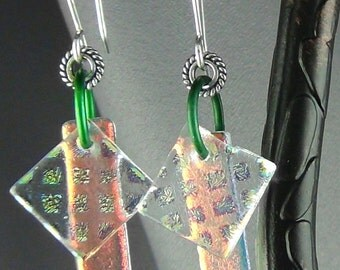 """Dychroic Glass Earrings Green Anodized Aluminum Rings Silver Spacer & Handcrafted SS Ear Wires - Dychro Squared - 2.75"""""""
