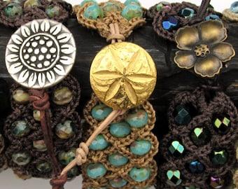 Boho Chic Cuff Bracelet, Blue Aqua Bracelet, Beach Ocean Bohemian Crochet Jewelry