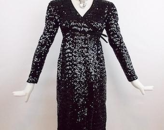 Designer Vintage JOSEPH MAGNIN BABY Doll Black Sequins Dress For Victor Costa  Romantica Size 6