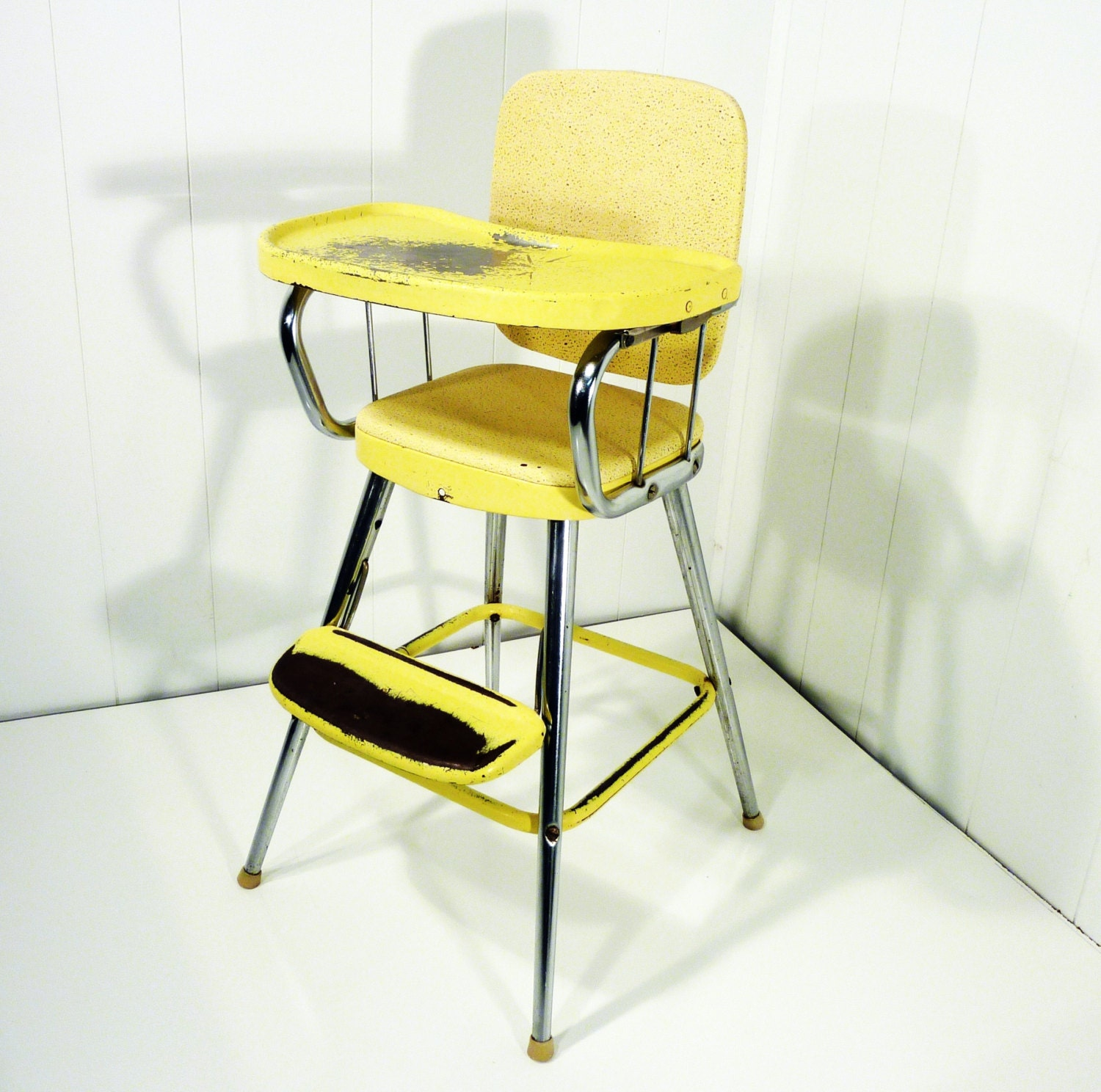 Samsonite retro 50s vintage high chair yellow original label for 1950s chair styles