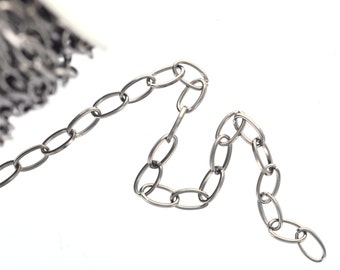 1 yard (3 feet) of ANTIQUE SILVER Oval Cable Link Chain  .  unsoldered links are 8x5mm  fch0207
