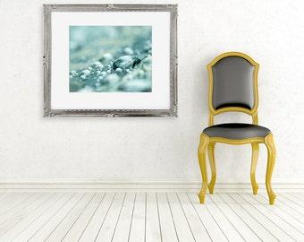 rain photograph water drops fine art photo wall decor blue green bokeh abstract