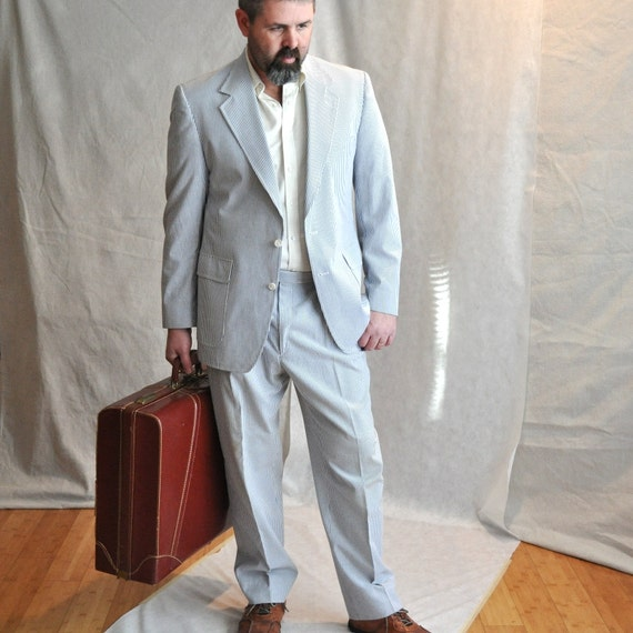 Mens Suit 46 XL Big Tall Man Vintage Seersucker Sport Coat