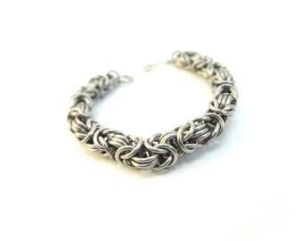 Heavy Metal Bracelet - Byzantine Chainmaille - Medium