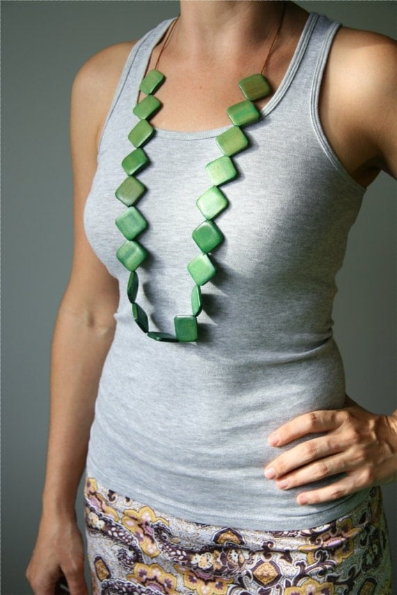 Hand-Dyed Ombre Apple Green to Forest Green Wooden Bead Statement Necklace