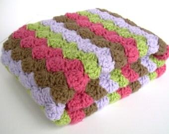 Crochet Baby Blanket, Baby Blanket, Crochet Baby Girl Blanket, Raspberry Pink, Chocolate Brown, Lilac Purple, and Sweet Pea Green, crib size