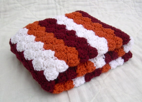 Crochet Baby Blanket, Baby Blanket, Crochet Virginia Tech Baby Blanket, Hokies, maroon, orange, and white VT afghan, travel size