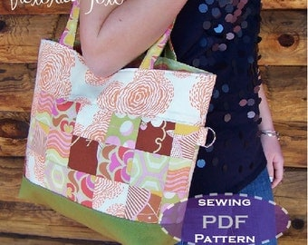 Quilted Tote Bag Sewing Pattern - Victoria Tote