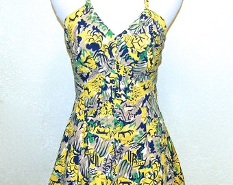 Rare Vintage Pinup 1940s Novelty Print One Piece Swimsuit 36 Bust