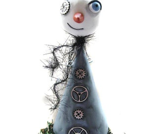 Steampunk Art Doll - Steampunk Snowman - Tree Topper - Steampunk Art - Made to Order