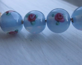 Blue  Czech Glass Beads With Rose Design