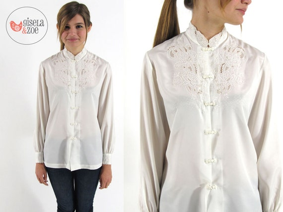 70s Floral Embroidered Blouse Vintage Floral Cut Out Top Chinese Mandarin Top / small / medium