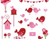 Valentine's Sale - Clip Art Set - Love Birds, Bird House, Banner, Balloons - 19 Print Ready Files - JPG and PNG Format - ID 217