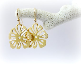 Pumpkin Flower earrings - Gold plated floral dangle gift for her romantic valentine idea floral woodland fall autumn jewelry
