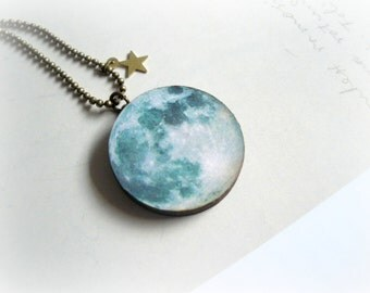 Blue Moon necklace - Galaxy celestial jewelry Wood pendant teal turquoise white face shiny golden twinkle star eco fiendly gift for her