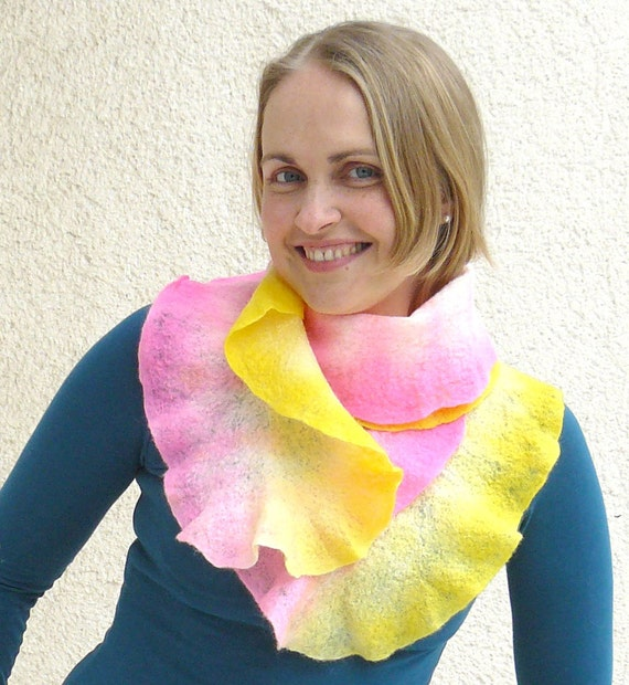 Wet felted wool scarf. Yellow, neon pink, fashion scarf, long lace wet felt scarf. SALE