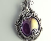 Purple Amethyst Glass Cabochon and Sterling Silver Wirewrapped Sculpted Necklace