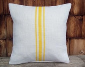Burlap Pillow Cover - Yellow Stripes - Choose Size and Colors - 16 x 16 to 24 x 24 - Decorative Summer Home Decor - Grain Sack Pillow