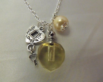Perfume Bottle Pendant Necklace Lemon Yellow with Pearl And Charm   Womens Gift  Handmade