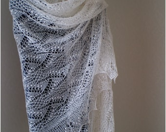 Hand knitted wedding shawl, Estonian lace stole, Haapsalu  shawl, heirloom, soft cobweb merino CUSTOM MADE