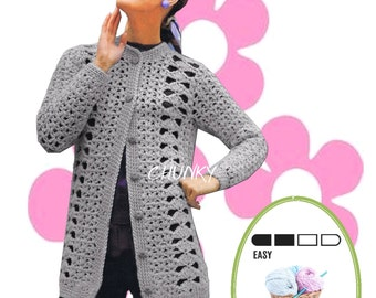 Instant Download VKNC50 Vintage  Crochet Ladies Cardigan Pattern chunky winter warmer quick to work up